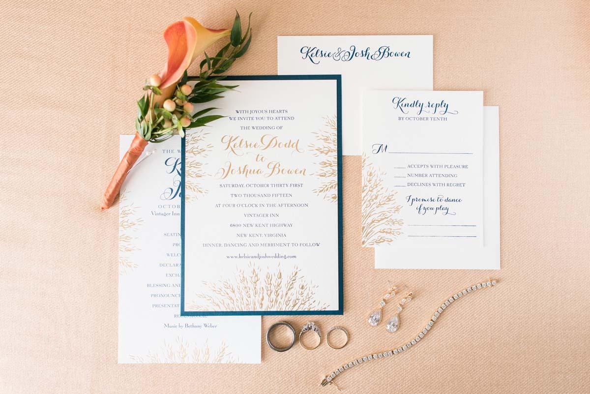 Orange wedding boutonnieres