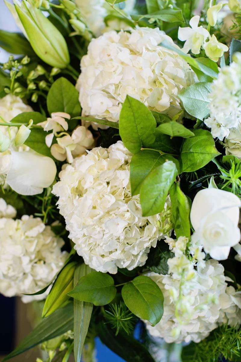 hydrangea wedding ceremony flowers