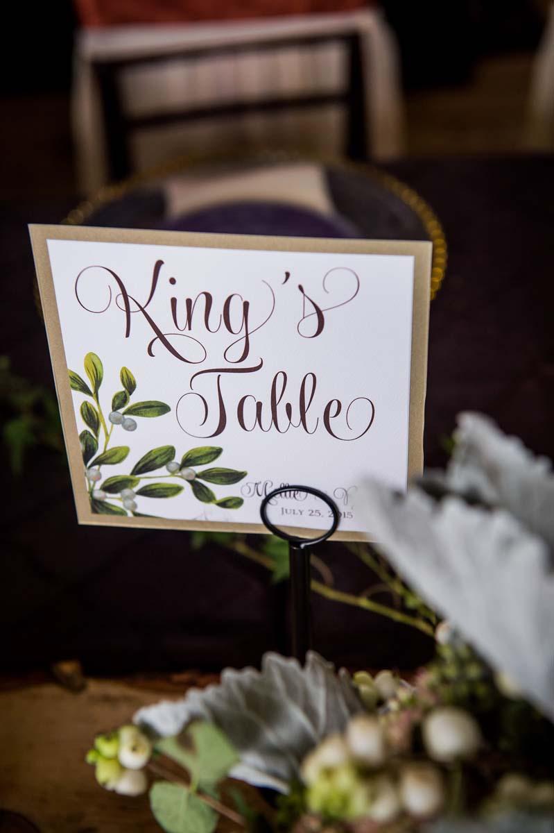 King's Table Wedding Reception