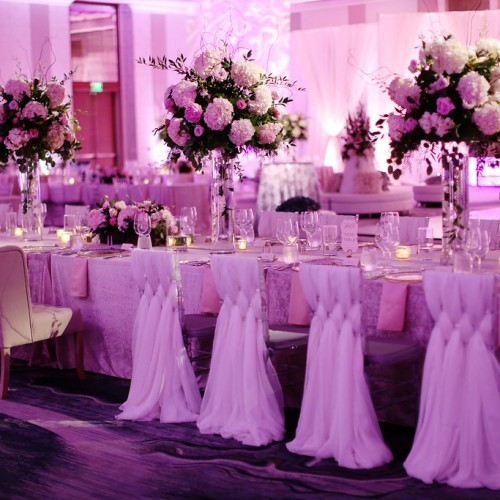 Pink and White Wedding Reception Flowers