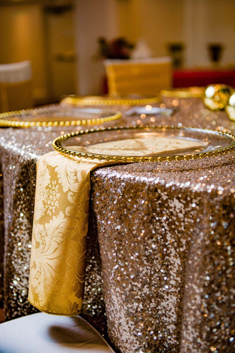 Gold Sequin Wedding Linens