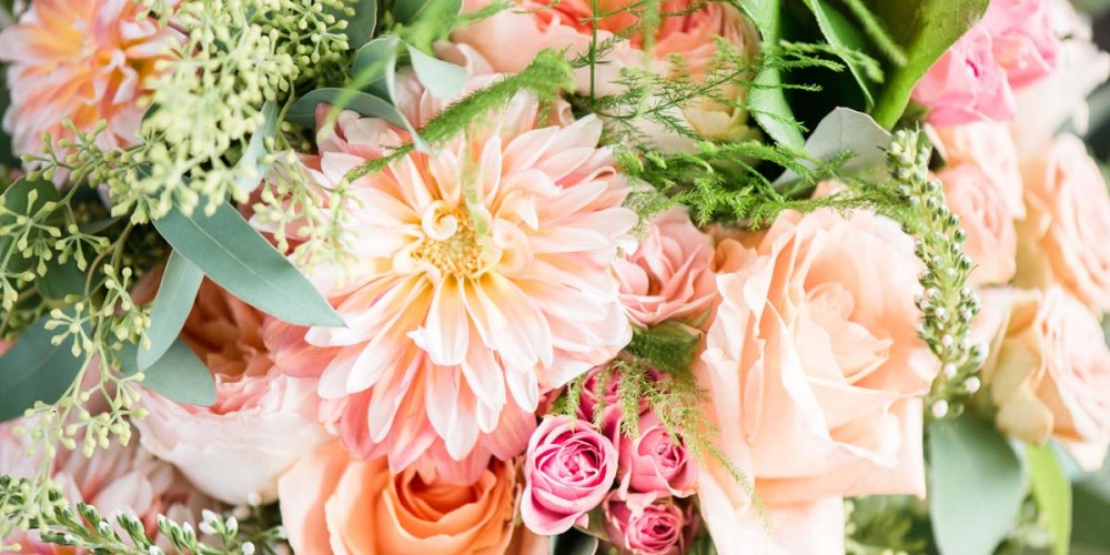 Pink and Peach Wedding Flowers