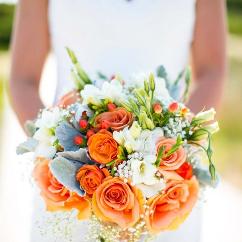 Orange Bridal Wedding Flowers