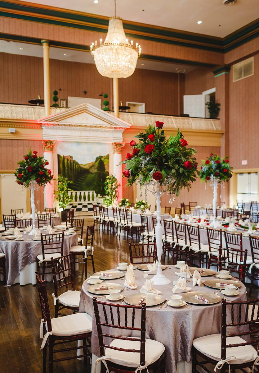 christmas wedding reception decor