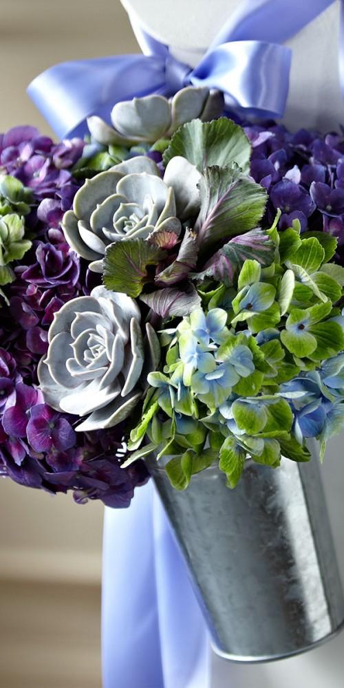 Purple Wedding Reception Flowers
