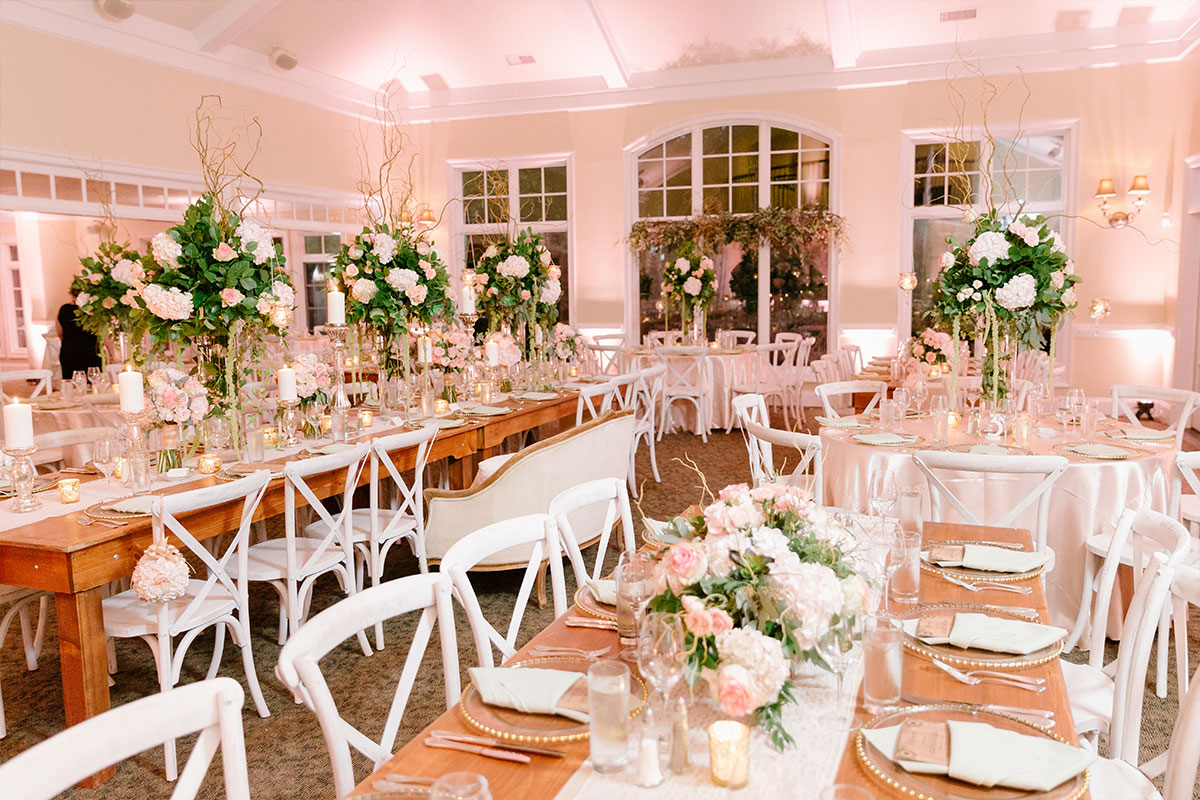 White and Pink Wedding Reception Flowers