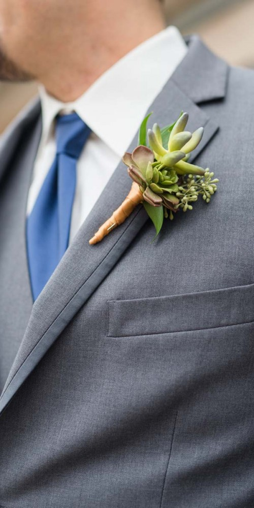 succulent wedding boutonnieres