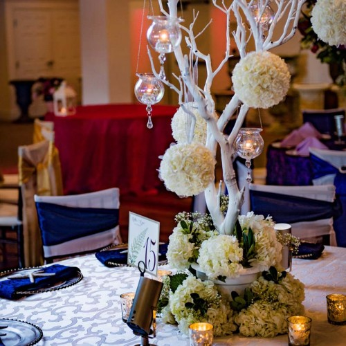 White Wedding Table Centerpiece