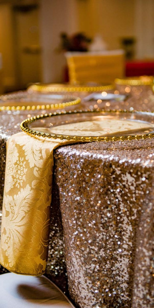 Gold Sequin Wedding Linens