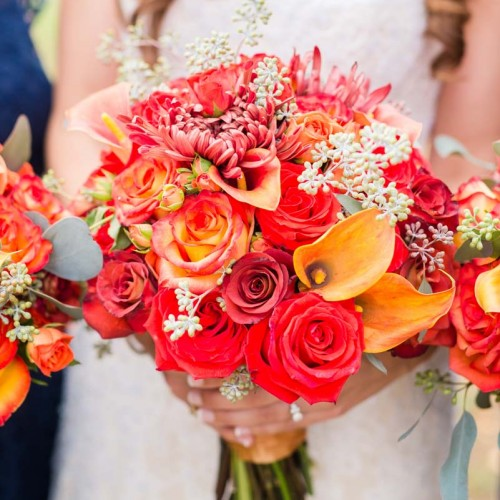 Fall Red Wedding Floral Decor