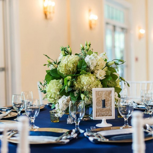 White and Blue Wedding Reception
